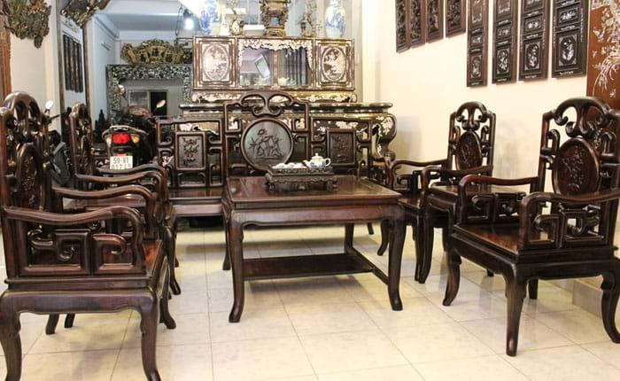 Mua bán thanh lý bàn ghế gỗ xưa phòng khách cũ giá tốt 1