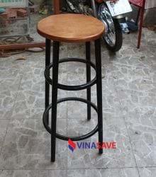 Ghế cafe mặt gỗ khung chân sắt cũ