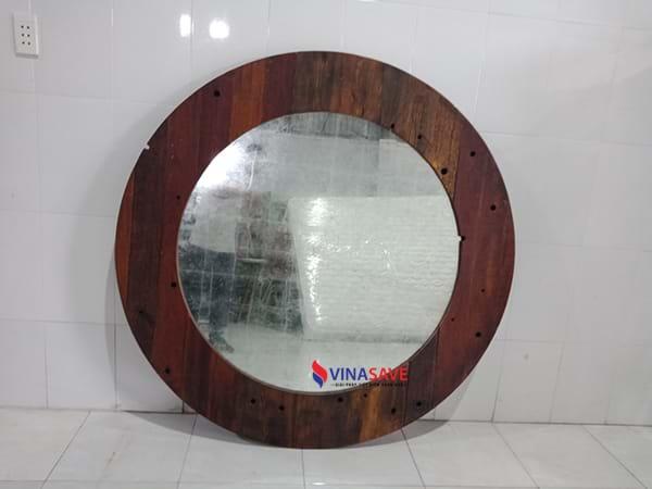 Gương tròn gỗ cũ SP002056