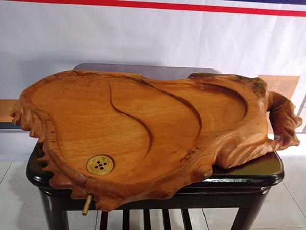 Thanh lý Khay trà gỗ tự nhiên nguyên khối cũ chất lượng còn như mới - 2881