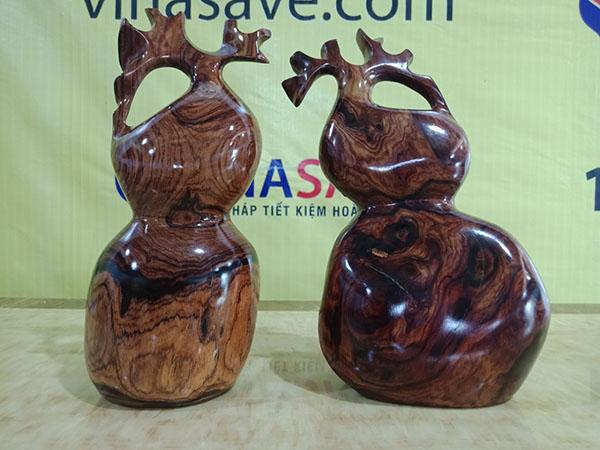 VinaSave thanh lýCặp hồ lô gỗ Cẩm Chỉ Gia Lai nguyên khối chất lượng