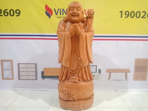 Tượng Di Lặc đứng chúc phúc gỗ Hương Đá 136x36x36 cm