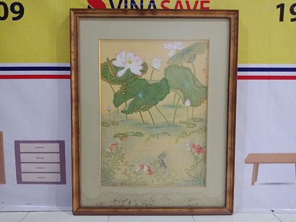 Thanh lý giá cực tốt Tranh hoa sen cũ được vẽ tay tỉ mỉ, chi tiết -4314