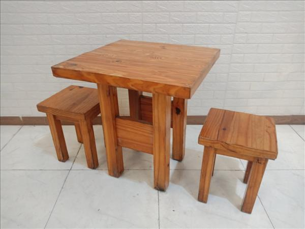 Bộ bàn trà sữa gỗ cao su cũ SP010206