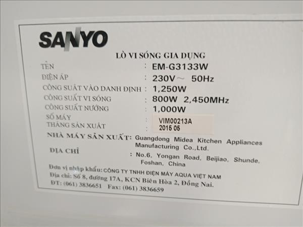 Lò vi sóng Sanyo EM-G3133W cũ