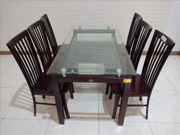 Bộ bàn ăn gỗ cao su Hòa Phát cũ SP010353