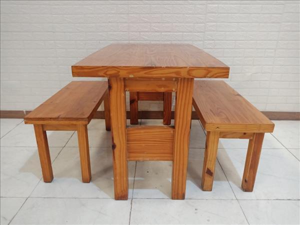 Bộ bàn trà sữa gỗ cao su cũ SP010205