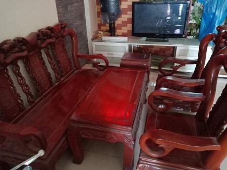 Bộ sofa gỗ tự nhiên cũ SP014558