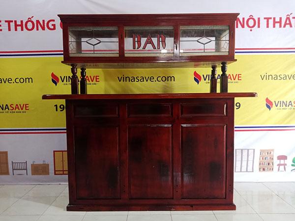 Vinasave thanh lý Quầy bar cũ chất liệu gỗ tự nhiên phối kính, giá rẻ nhất - 5332