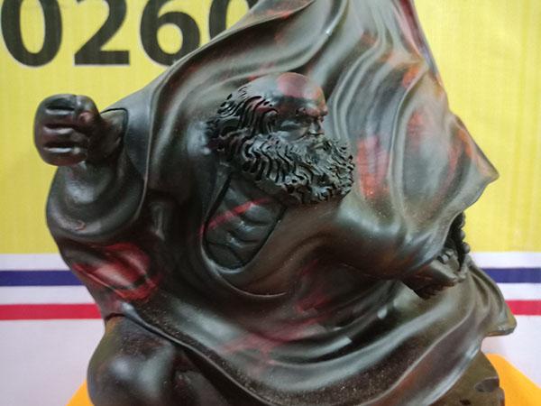 Tượng Đạt Ma múa võ gỗ Trắc 47.5x38x20 cm