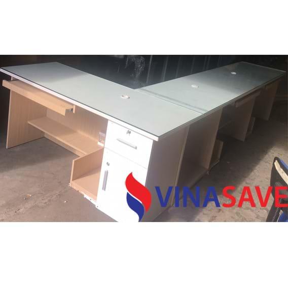 Bộ bàn làm việc dài hình L mặt kính cũ VN308