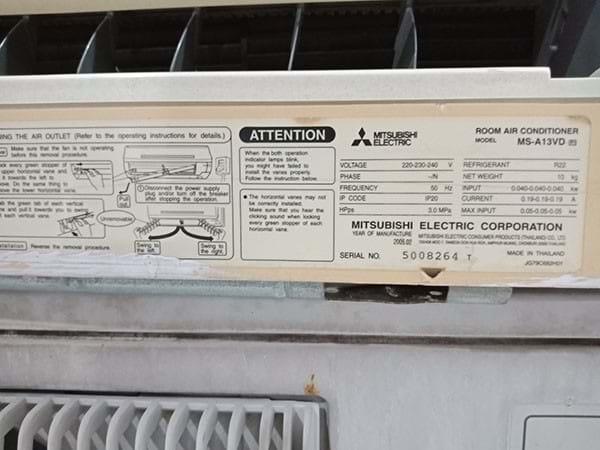 Máy lạnh Mitsubishi Electric 1,5hp cũ SP002870