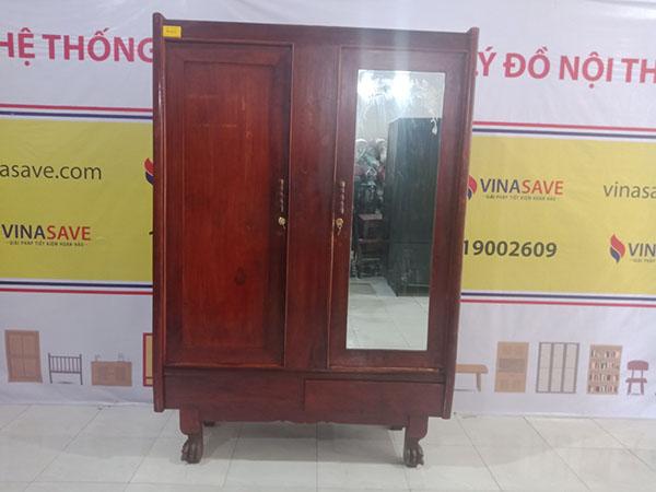 Xả kho thanh lý Tủ quần áo cũ bằng gỗ Gõ đỏ chất lượng tốt - 4505