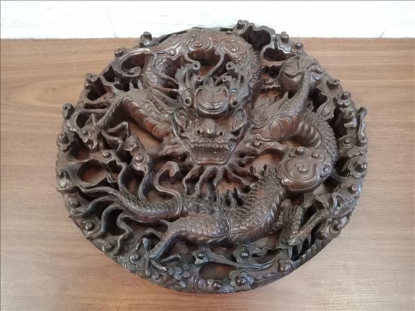 Tranh rồng gỗ Mun 8 x 36 x 36 cm