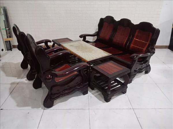 Bộ sofa gỗ Gõ đỏ + Tràm bông vàng cũ SP010744
