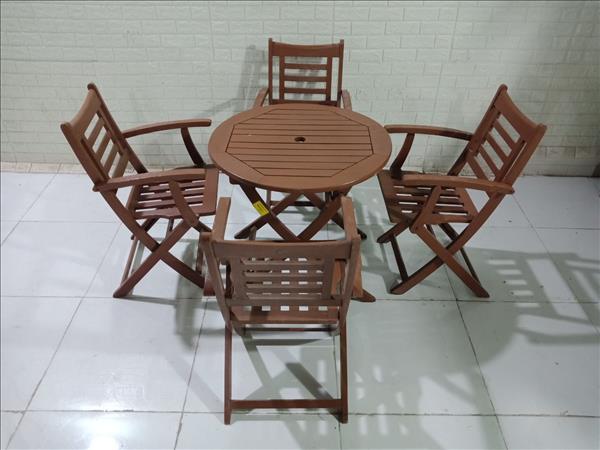 Bộ bàn cafe gỗ cao su + thông cũ SP011094