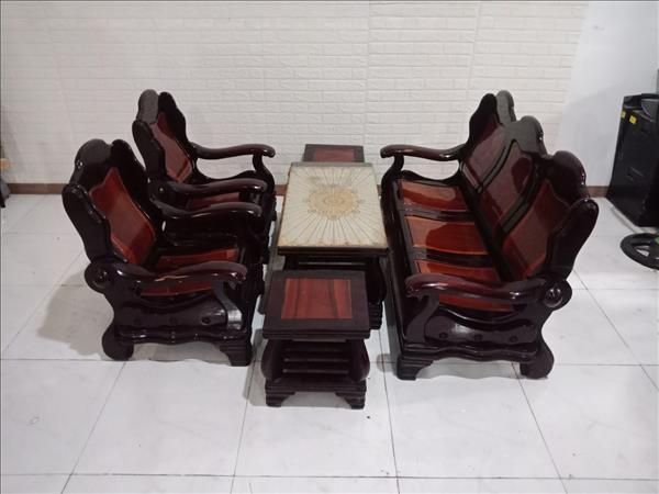Bộ sofa gỗ Gõ đỏ + Tràm bông vàng SP010744