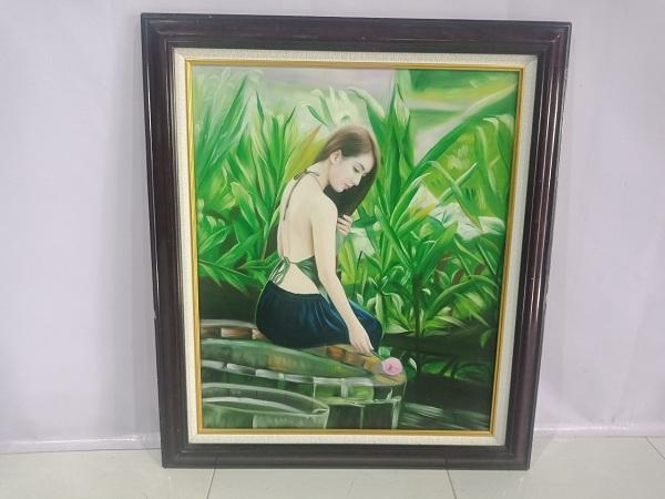Thanh lý Tranh nghệ thuật cũ, chất liệu sơn dầu đã được đóng khung hoàn chỉnh - 6077