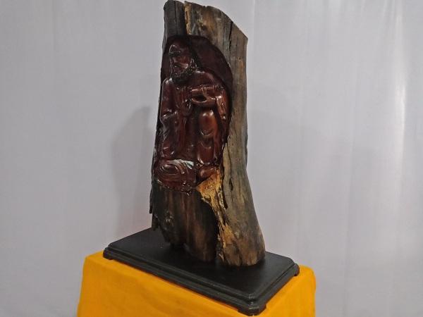 Tượng Đạt Ma Sư Tổ ngồi thiền gỗ Hương 117x85x45 cm