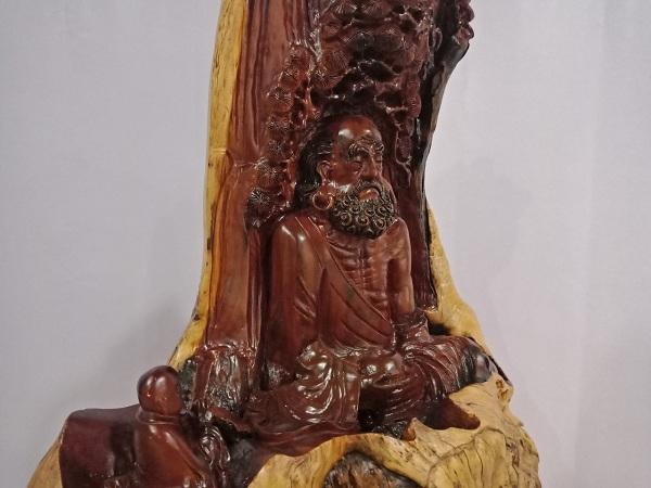 Tượng Đạt Ma Sư Tổ ngồi thiền gỗ Nu, lũa Hương 94x76x44 cm
