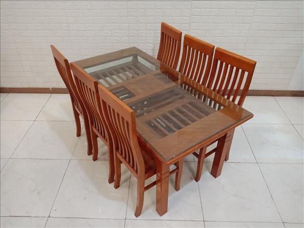 Bộ bàn ăn gỗ Sồi cũ SP011134