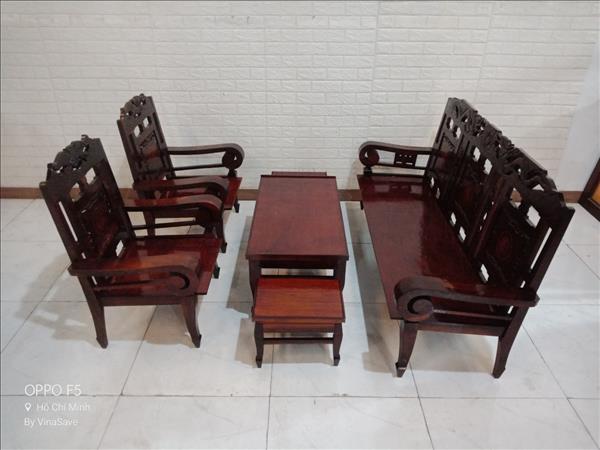 Bộ sofa gỗ Gõ đỏ cũ SP011283