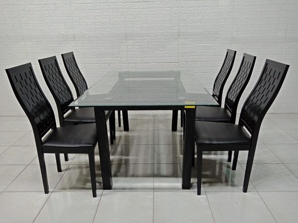 Bộ bàn ăn mặt kính cũ SP007336