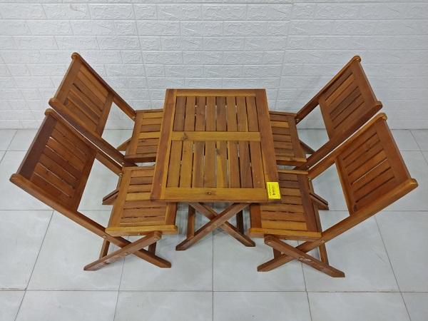 Bộ bàn cafe gỗ Bạch đàn cũ SP007326