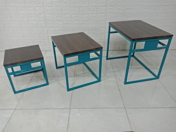 Bộ bàn gỗ keo chân sắt cũ SP007388