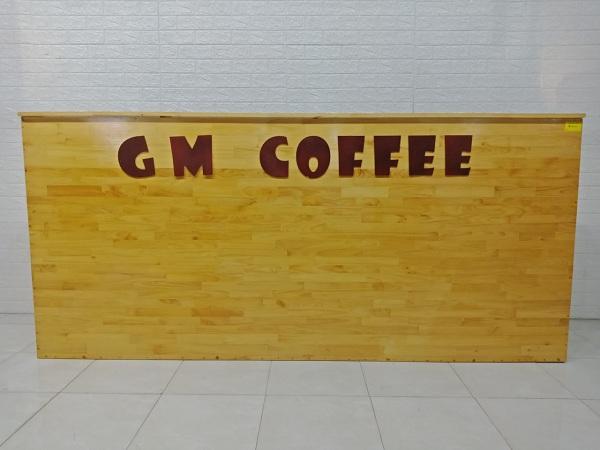 Quầy cafe gỗ cao su mặt đá cũ bán thanh lý giá rẻ SP007219
