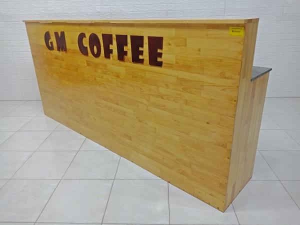 Quầy cafe gỗ cao su mặt đá cũ SP007219