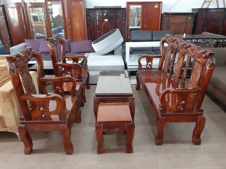 Bộ sofa gỗ Tràm Bông Vàng cũ SP015481