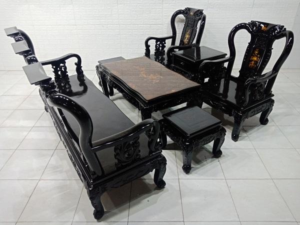 Bộ sofa gỗ Muồng cũ SP007567