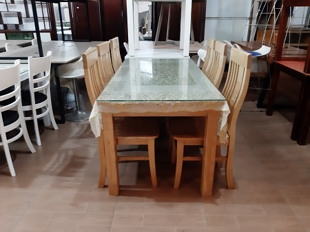 Bộ bàn ăn gỗ Sồi cũ SP015664
