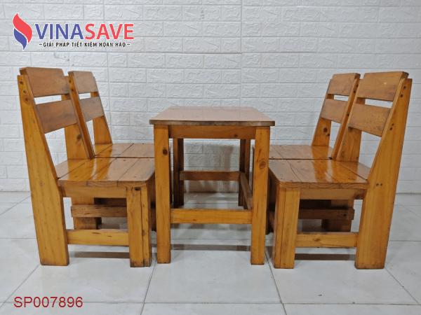 Bộ bàn cafe gỗ thông cũ SP007896