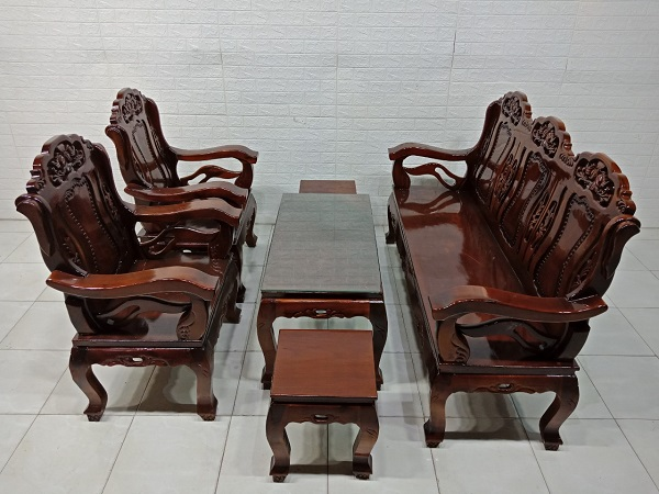 Bộ sofa gỗ Tràm bông vàng cũ SP008003