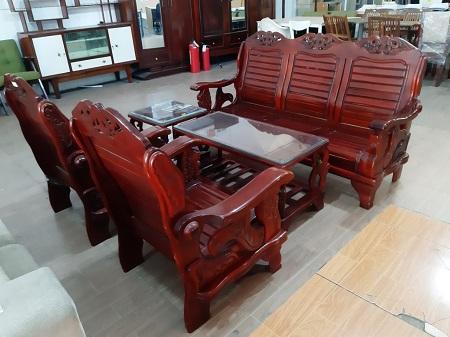 Bộ sofa gỗ tự nhiên cũ SP015707