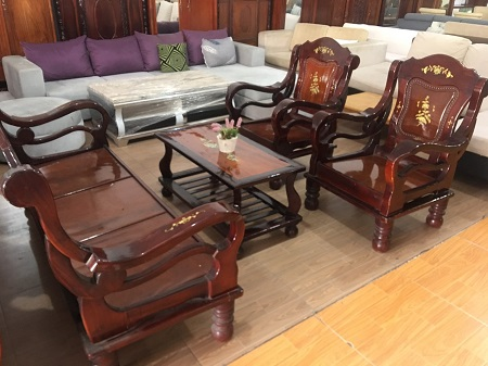 Bộ sofa gỗ tự nhiên cẩn ốc xà cừ cũ SP015911