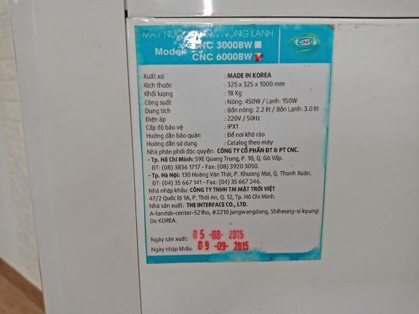Máy nước nóng lạnh CNC 6000BW cũ