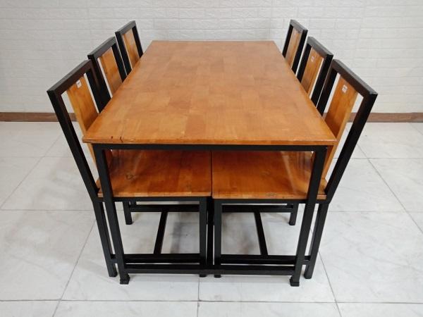 Bộ bàn ăn gỗ cao su cũ SP008434.1