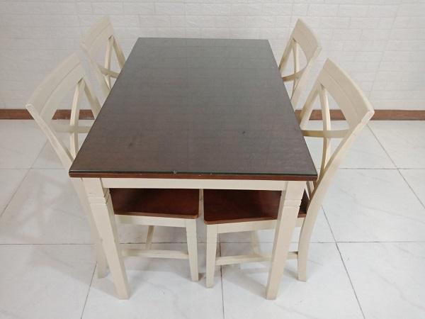Bộ bàn ăn gỗ cao su cũ SP008439