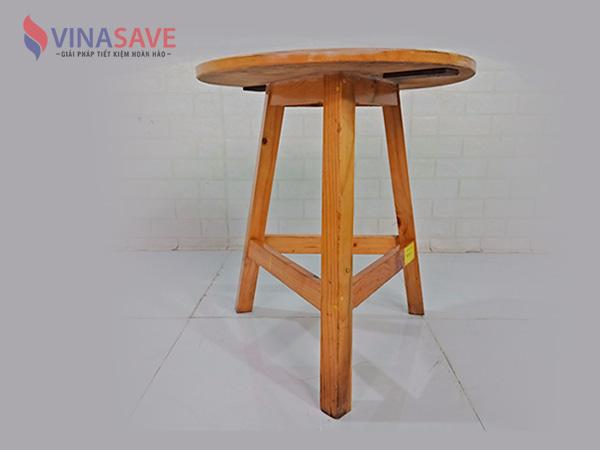 Bàn tròn cao gỗ cũ SP009072