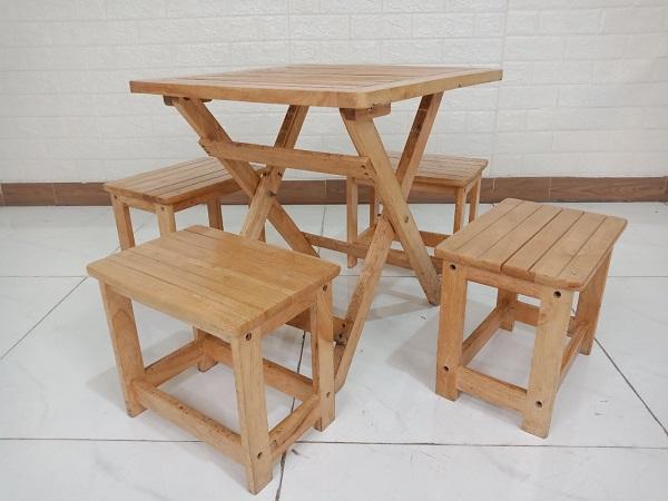 Bộ bàn cafe gỗ cao su cũ SP008752
