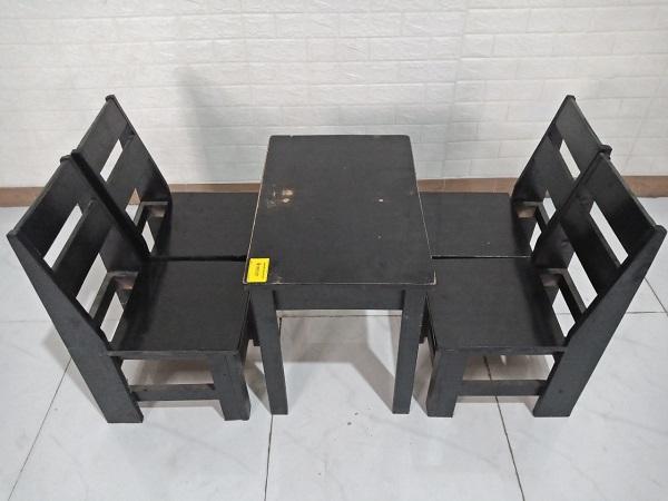 Bộ bàn ghế cafe gỗ thông cũ SP008554
