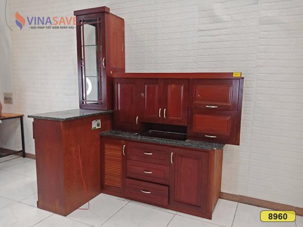 Bộ tủ kệ bếp gỗ căm xe cũ SP008960