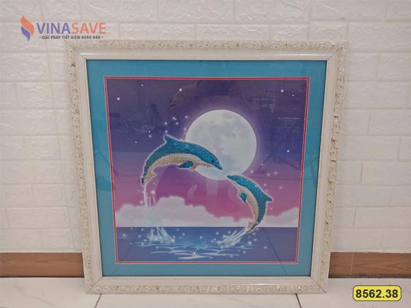 Tranh đá hình đôi cá heo cũ SP008562.38