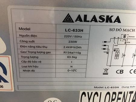 Tủ mát ALASKA 342 Lít LC-633H cũ SP016079