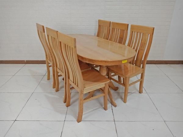 Bộ bàn ăn gỗ Sồi cũ SP009240