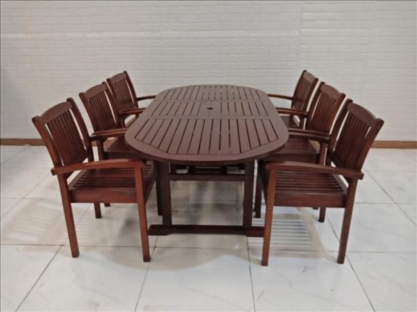 Bộ bàn ăn gỗ Căm xe cũ SP009338