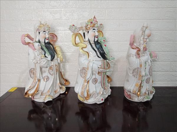 Tượng Phúc Lộc Thọ gốm sứ 46 x 34 x 20 cm